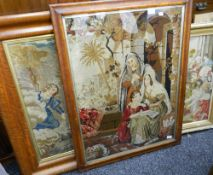 Three 19th century framed religious tapestries