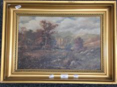 19th century, oil on canvas, Figures in Woodland,