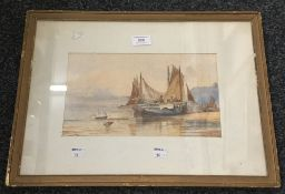C THORNLEY, Fishing Boats on the Beach, watercolour, signed and dated 1866,