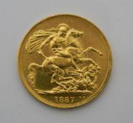 An 1887 gold £2 coin