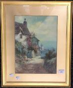F PARR, Lighthouse View, watercolour,