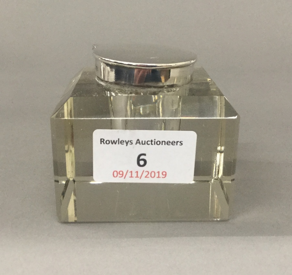 Lot 6 - A silver top glass inkwell