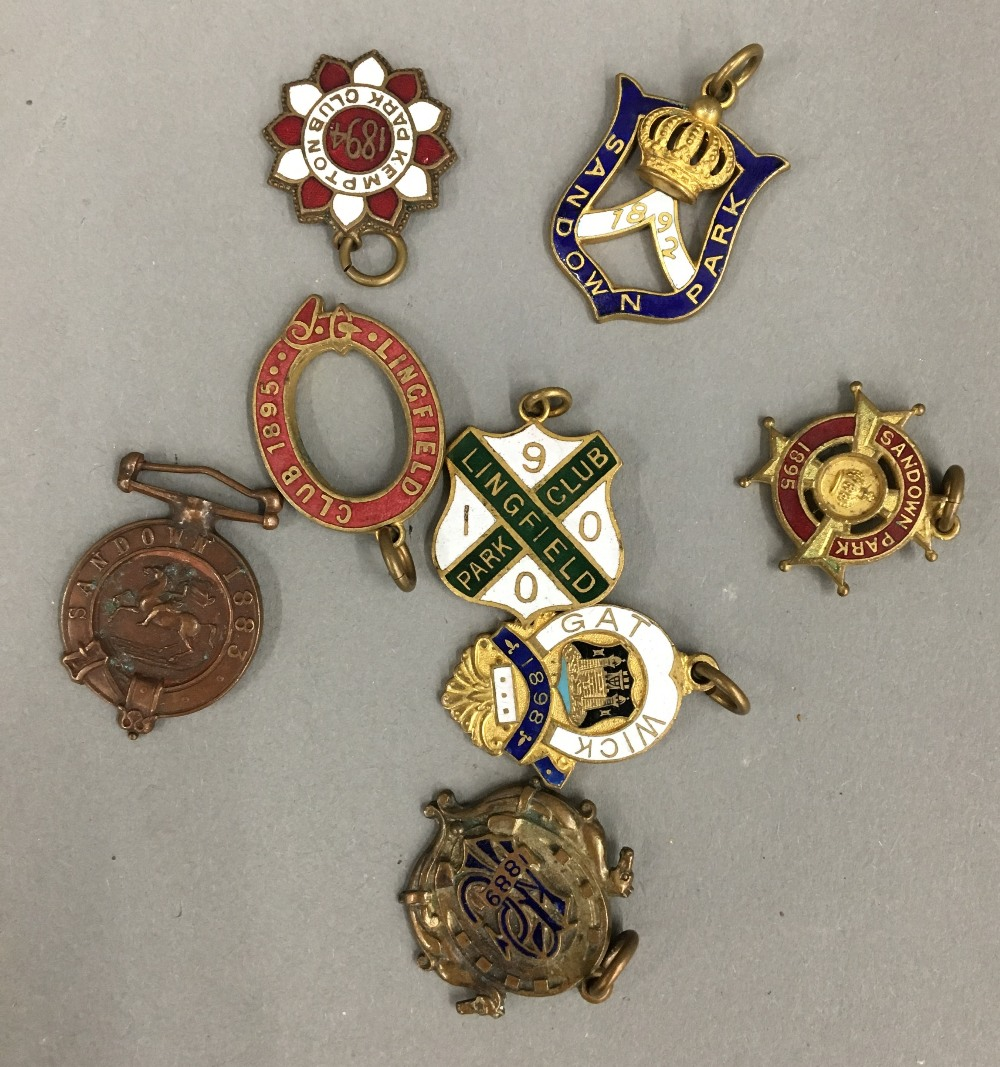 Lot 54 - Six late Victorian enamelled racing badges,