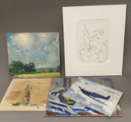 A quantity of pictures and prints, including After PICASSO, WINIFRED WACKER, etc.