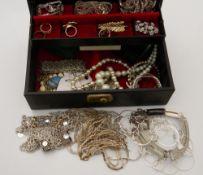A jewellery box containing costume jewellery