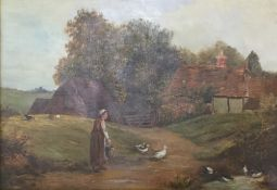 A 19th Century oil on canvas, Feeding the Ducks, indistinctly signed,