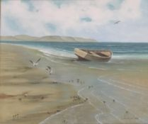 JACK WILSON (20th century), Boats and Seagulls on Shore Line, oil on canvas,
