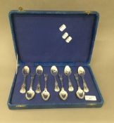 A harlequin set of nine large Kings pattern teaspoons, double struck,