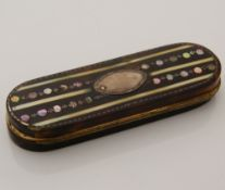 A Georgian mother-of-pearl and ivory inlaid tortoiseshell toothpick box