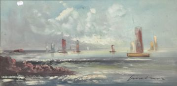 ITALIAN SCHOOL, Sailing Boats at Sea, oil on canvas, indistinctly signed,