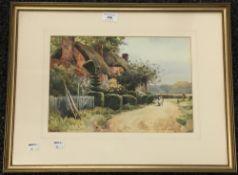 H HUGHES RICHARDSON, Cowslip Cottage, Milkingpen Lane, Old Basing, Hampshire, watercolour,