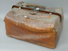 A Victorian crocodile skin travelling bag