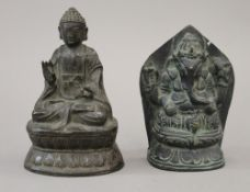 A Chinese bronze model of Buddha and a model of Ganesh