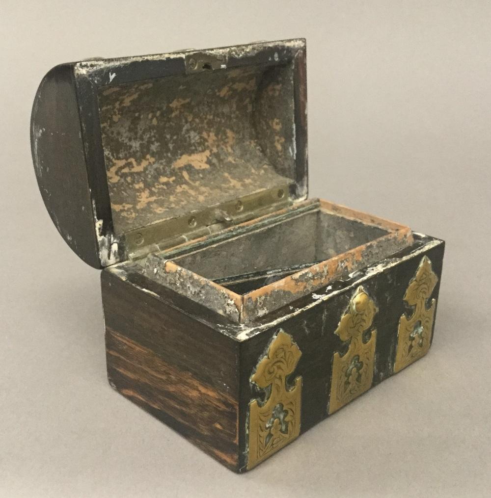 Lot 20 - A small Victorian brass mounted coromandel box
