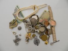 A quantity of coins, watches, pearls, etc.
