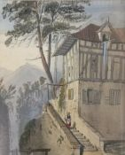 CONTINENTAL SCHOOL (19th century) Figure Before an Alpine Chalet, watercolour, framed and glazed,