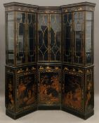 A late 19th century chinoiserie lacquered decorated library corner bookcase Each top section with