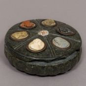 An Italian Grand Tour sienna marble lidded desk stand The removable lid set with carved cameo busts