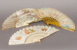 A 19th century painted silk fan With carved giltwood guards,