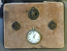 A World War I fitted case commemorating Lieutenant Eric Gordon Waters,