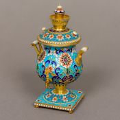 A cloisonne decorated silver gilt miniature model of a samovar Of typical form,