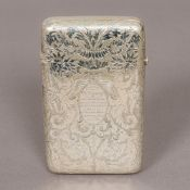 A Victorian silver cigar case, hallmarked London 1882, maker's mark of WS Of hinged form,