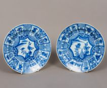 A pair of Ming Dynasty (Wan Li Period 1573-1619) Kraak porcelain blue and white plates Decorated