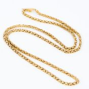 A 9 ct gold Byzantine link chain 81 cm long.