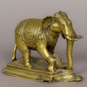An 18th century Indian bronze figure of an elephant Modelled on all fours standing on a stepped