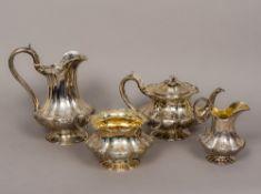 A Victorian silver four piece tea set, the teapot, sugar bowl and cream jug hallmarked London 1841,