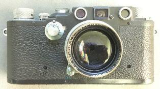 A rare World War II military Leica Leitz model IIIC camera Bearing the Luftwaffe Fleiger number Fl