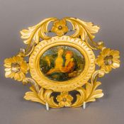 ITALIAN SCHOOL (18th century) Miniature on ivory depicting a young lady sat upon a gentleman's knee,