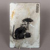 Attributed to BANKSY (born 1974) British Umbrella Rat Aerosol paint, stencilled onto metal,