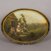 A 19th century twin handled galleried toleware tray Painted to the centre with figures before a