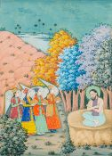A 19th century Persian miniature on paper Painted with a Christian scene depicting four winged