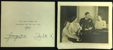 HM King George VI (1895-1952) and HM Queen Elizabeth The Queen Mother (1900-2002) signed Christmas