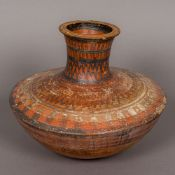 An antique, possibly Greek/Roman antiquity terracotta vase Of squat ovoid form,