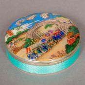 A late 19th/early 20th century enamel decorated Sterling silver box Of hinged circular form,