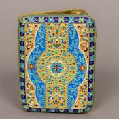 A cloisonne decorated silver gilt cigarette case With allover floral decorations,