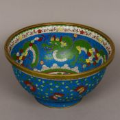 A large Chinese cloisonne footed bowl Decorated to the interior with dragons chasing flaming pearls,