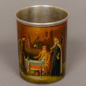 A Russian lacquer decorated silver beaker The front decorated with figures taking drink before a