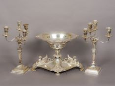 An Elkington & Co silver plate centrepiece and candelabra The removable dished top section above