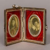 A Victorian silver travelling photograph locket, hallmarked Chester 1895,