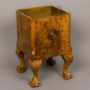A late 19th/early 20th century burrwood coal box Of canted square form with brass liner,