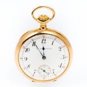 A 14K gold open faced pocket watch The white enamelled dial with subsidiary seconds dial,