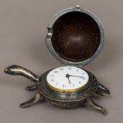 A novelty silver mounted coconut desk timepiece Formed as a tortoise,