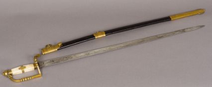 A copy of a 19th century Naval sword The handle engraved with an anchor and crown crest,