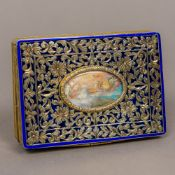 A Continental plique-a-jour and enamel decorated 800 silver gilt snuff box Of rectangular form,