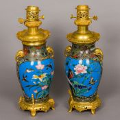 A pair of 19th century French ormolu mounted cloisonne vases Set as lamps,