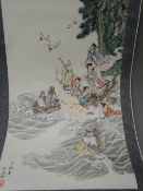 A Chinese scroll painting Depicting various immortals amongst clouds,